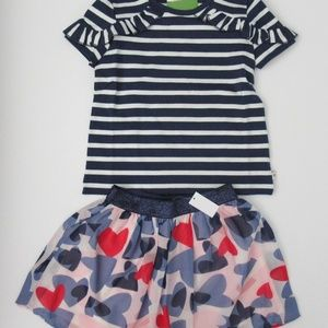 NWT Kate Spade SS Striped Top Heart Skirt Set NEW